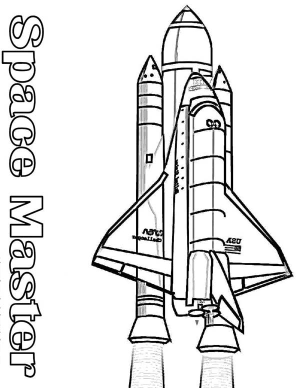 Space Shuttle, : NASA Space Shuttle and Its Rocket Booster Coloring Page