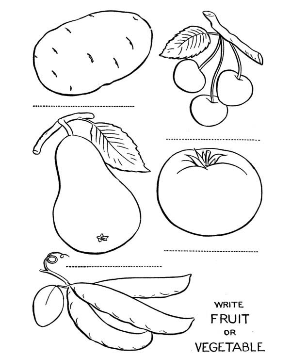 Fruits and Vegetables, : Name the Fruits and Vegetables Coloring Page
