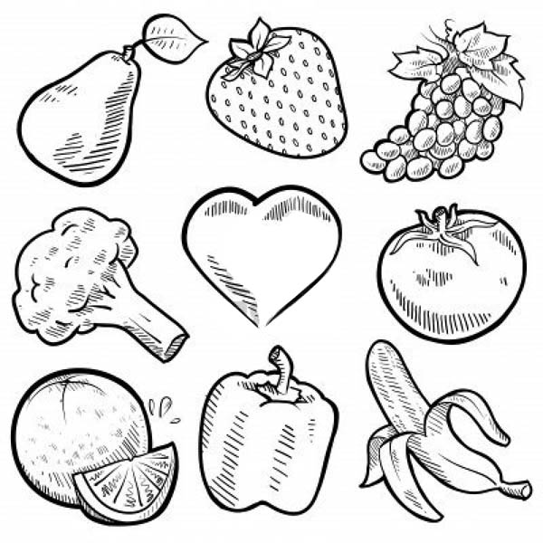Fruits and Vegetables, : Nine Healthy Vegetables for Veggies Coloring Page