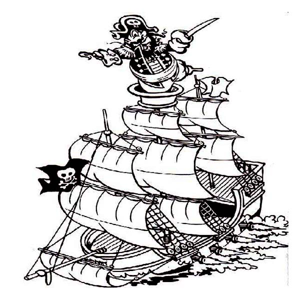 Pirate Ship, : Pirate Captain on the Ship Observation Deck Coloring Page