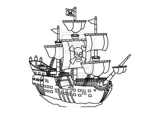 Pirate Ship, : Pirate Ship Galley on the Journey Home Coloring Page
