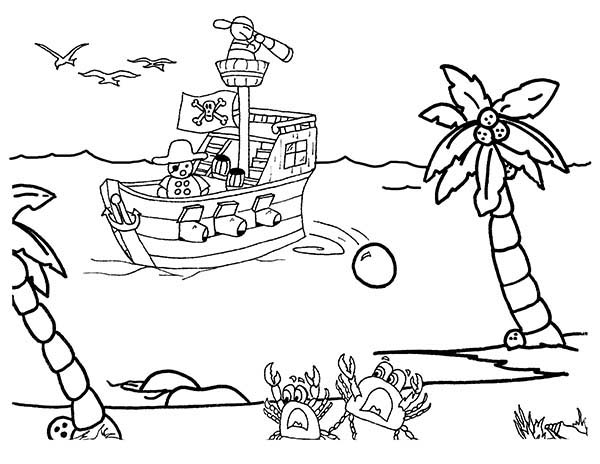 Pirate Ship, : Pirate Ship Open Fire to the Beach Coloring Page