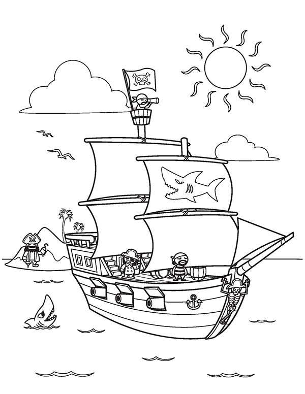 Pirate Ship, : Pirate Ship and Its Crew on Clear Sea Coloring Page