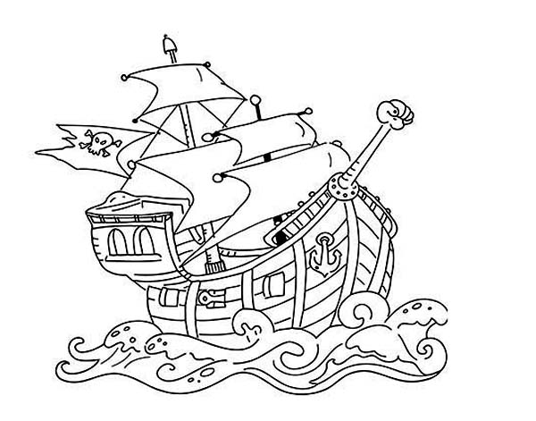 Pirate Ship, : Pirate Ship in Battle Position Coloring Page