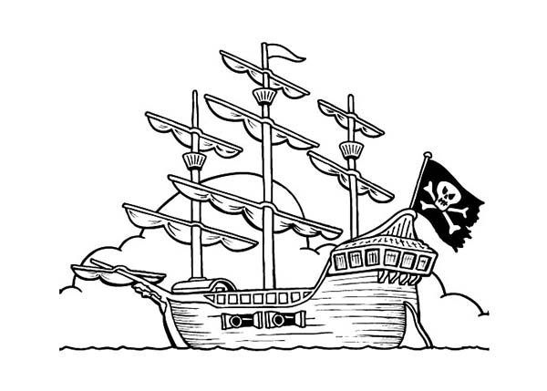 Pirate Ship, : Pirate Ship on Anchor Coloring Page