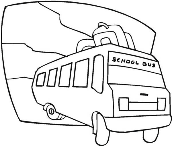 School Bus, : School Bus Ready for Student Field Trip Coloring Page