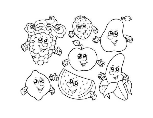 kawaii fruit coloring pages | Seven Cute Fruits In Friendship Coloring Page : Kids Play ...