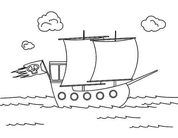 Pirate Ship, : Simple Pirate Ship Brig Drawing Coloring Page