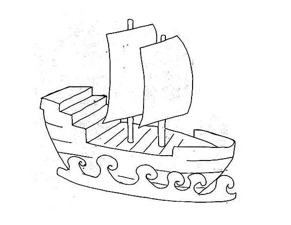 Pirate Ship, : Simple Pirate Ship Kids Draw Coloring Page