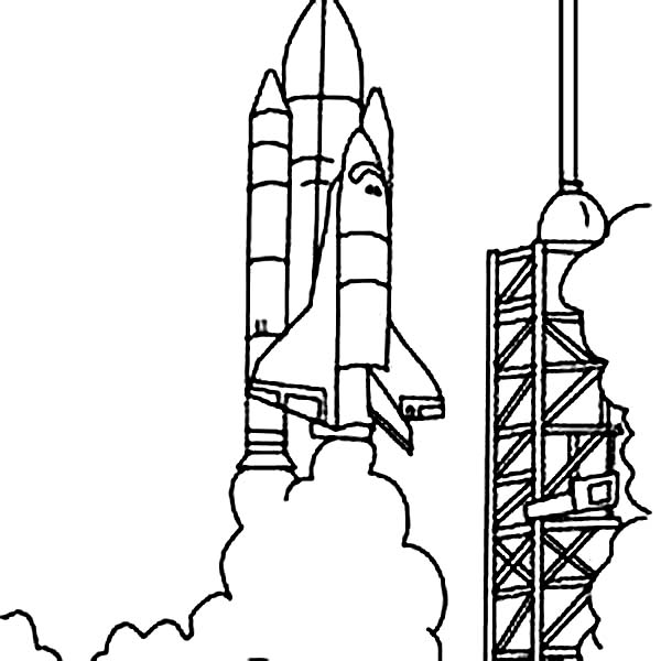 Space Shuttle, : Space Shuttle Launched from NASA Space Center Coloring Page