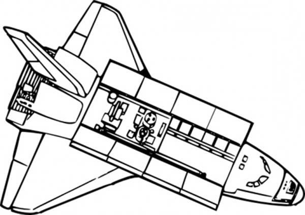 Space Shuttle, : Space Shuttle Open Its Main Body After Reaching the Orbit Coloring Page