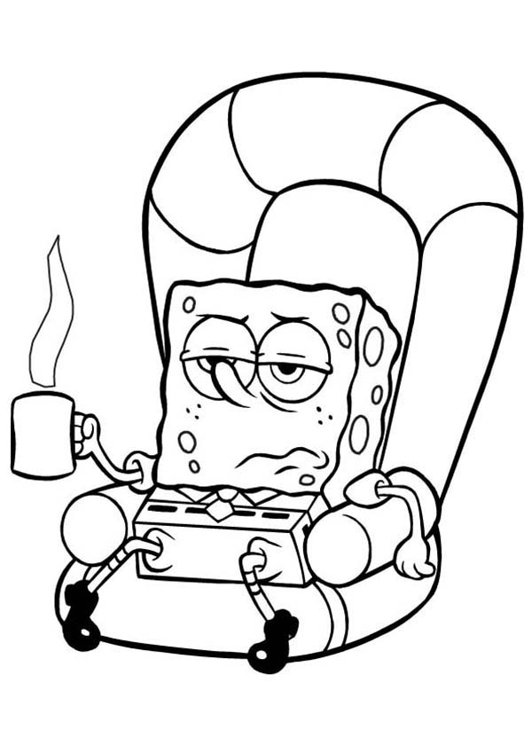 SpongeBob SquarePants, : SpongeBob Being Lazy on the Couch Coloring Page
