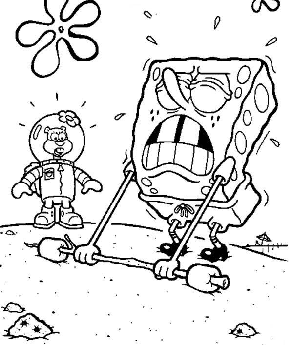 SpongeBob SquarePants, : SpongeBob Doing a Hard Lifting Coloring Page