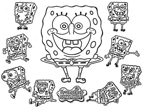 SpongeBob SquarePants, : SpongeBob Funny Acts Coloring Page