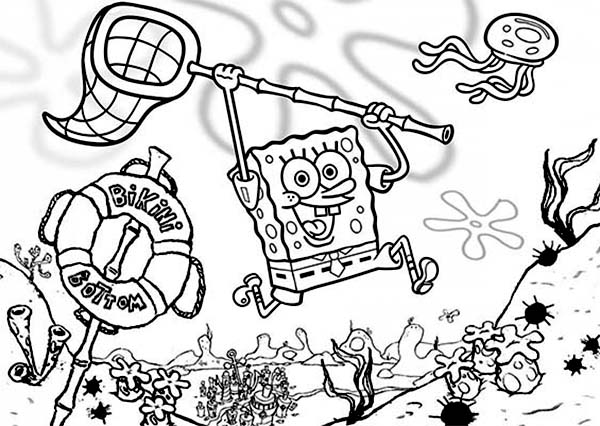SpongeBob SquarePants, : SpongeBob Hunting the Jellyfish Coloring Page