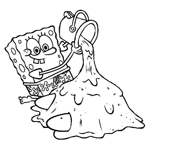 SpongeBob SquarePants, : SpongeBob Playing Sand with Patrick Coloring Page