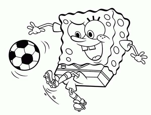 SpongeBob SquarePants, : SpongeBob Playing Soccer Coloring Page