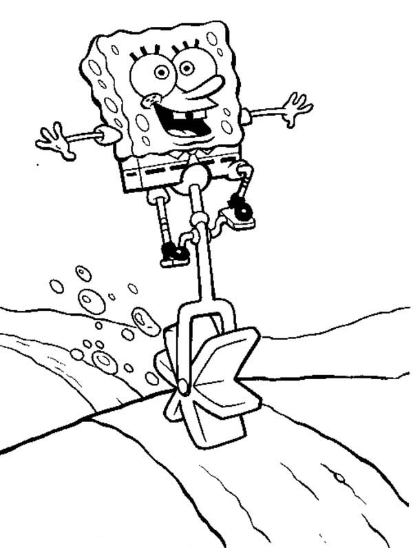 SpongeBob SquarePants, : SpongeBob Riding His Paddle Bike Coloring Page