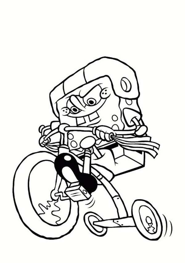 SpongeBob SquarePants, : SpongeBob Riding a Kids Bike Coloring Page