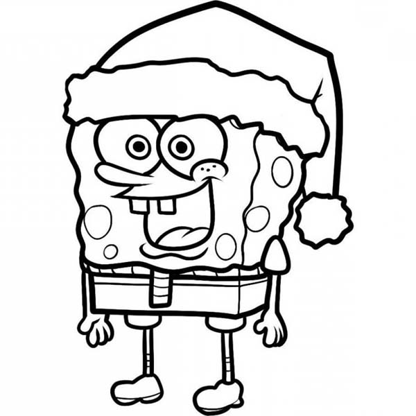 SpongeBob SquarePants, : SpongeBob Wearing Santas Hat Coloring Page