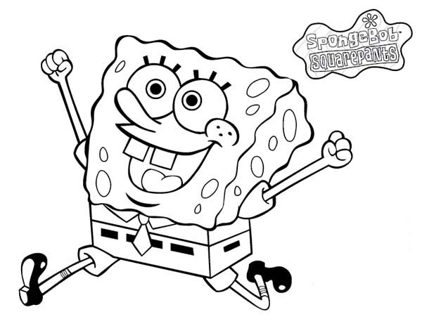 SpongeBob SquarePants, : SpongeBob is So Happy Today Coloring Page