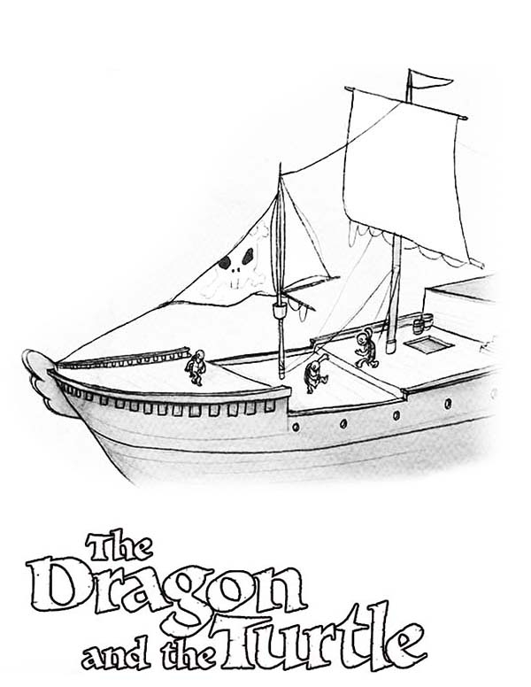 Pirate Ship, : The Dragon and Turtle Pirate Ship Coloring Page