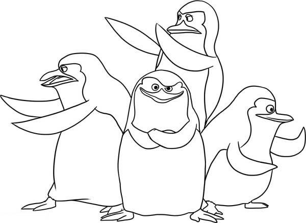 Penguins, : The Gang of Penguin of Madagascar Coloring Page
