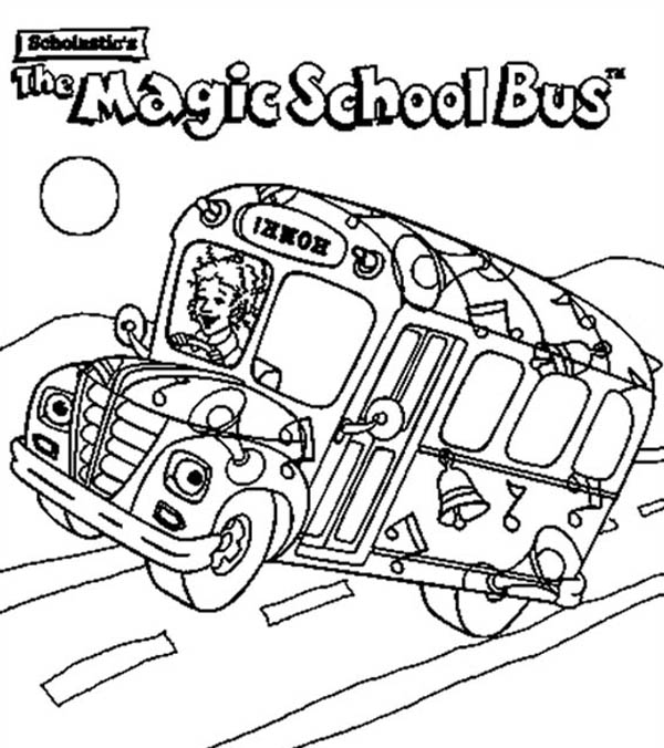School Bus, : The School Bus is on Action Coloring Page
