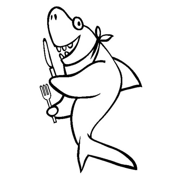 Sharks, : This Hilarious Shark is Ready to Feed Coloring Page