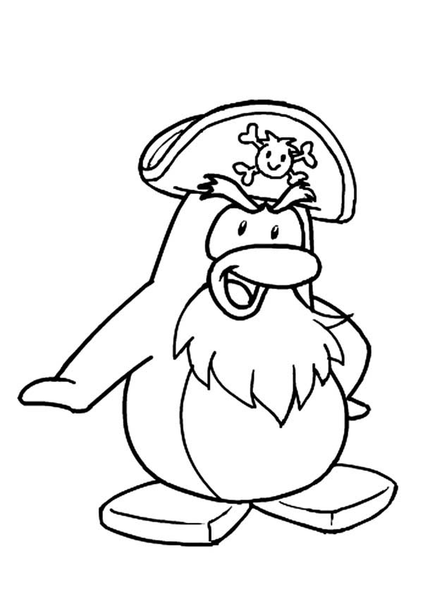 Penguins, : This Penguin Acting as a Pirate Coloring Page