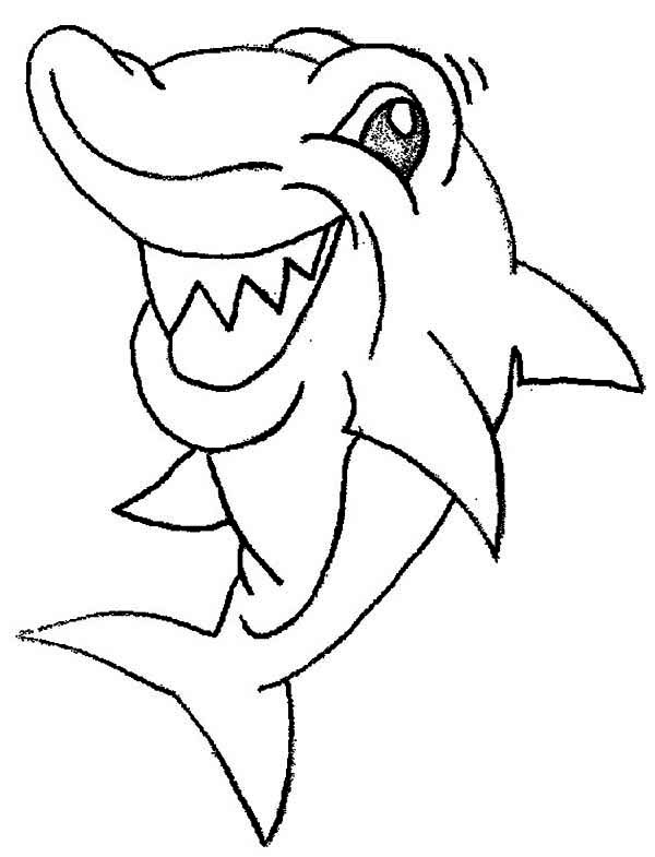 Sharks, : This Shark is Seeing Something Funny Coloring Page