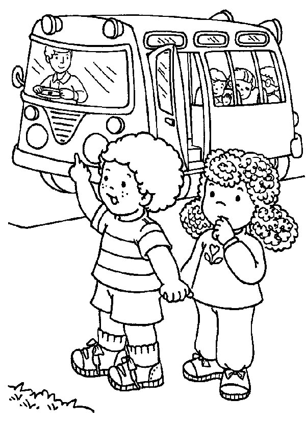 School Bus, : Two Cute Little Kids Waiting for School Bus Coloring Page