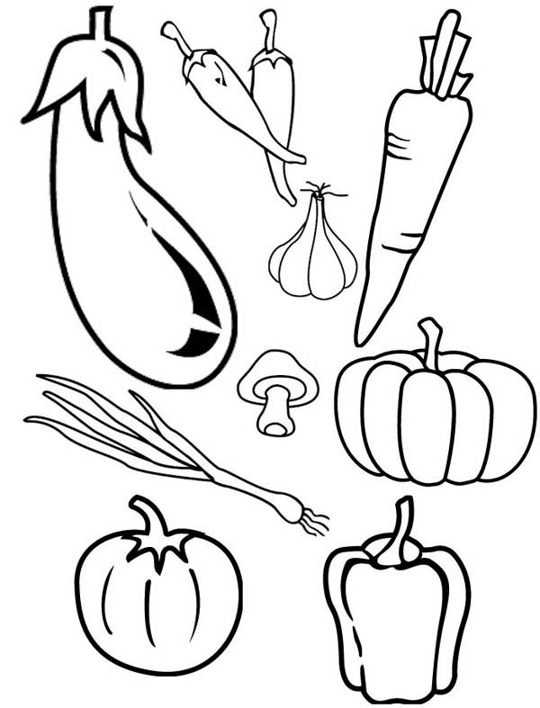 Fruits and Vegetables, : Types of Cornucopia Vegetables Coloring Page