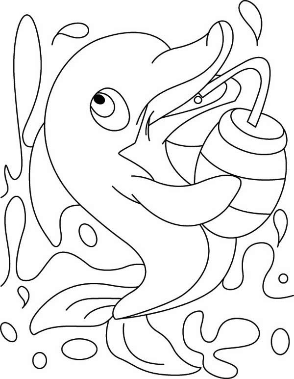 Dolphin, : dolphin-drinks-from-a-bottle-after-playing-hard-page-to-color.jpg