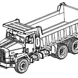 Double Axle Dump Truck Coloring Page Kids Play Color