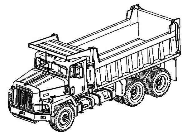 Trucks, : double-axle-dump-truck-coloring-page.jpg