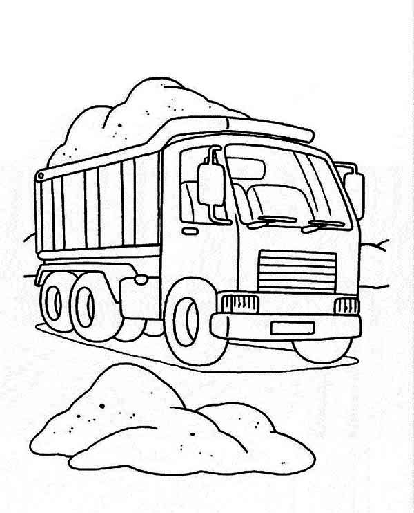 Trucks, : dump-truck-on-working-site-coloring-page.jpg