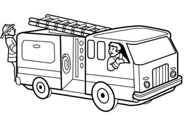 Trucks, : fire-truck-getting-ready-on-emergency-call-coloring-page.jpg