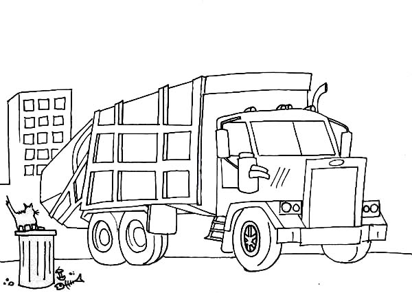 Trucks, : garbage-truck-cleaning-a-city-garbage-coloring-page.jpg