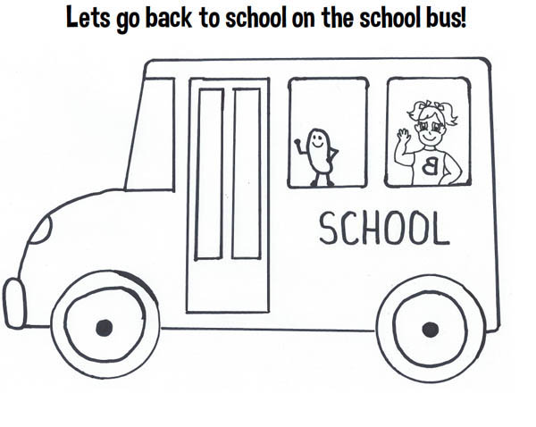 School Bus, : lets Go Back to School on the School Bus Coloring Page