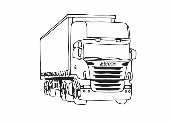 Trucks, : luxury-scania-trailer-truck-on-dump-truck-coloring-page.jpg