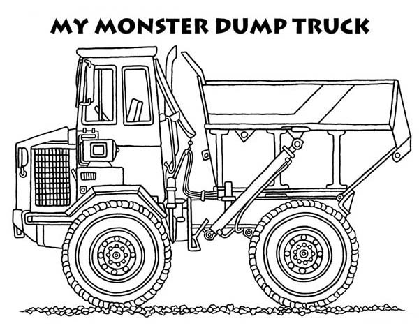 Trucks, : monster-dump-truck-coloring-page.jpg