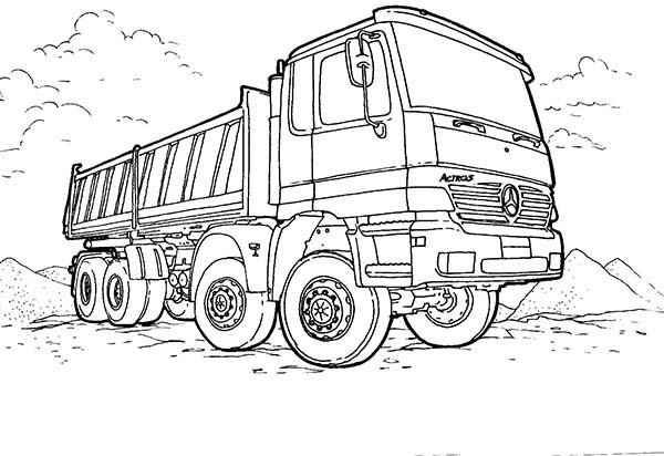 Trucks, : new-mercedes-dump-truck-on-working-site-coloring-page.jpg