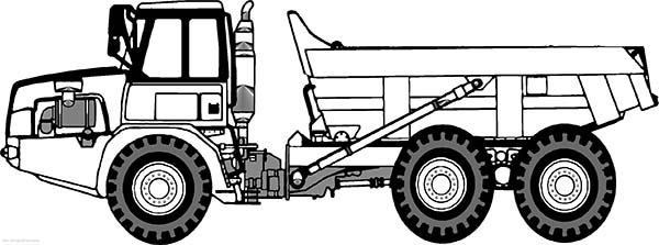 Trucks, : semi-trailer-dump-truck-side-view-coloring-page.jpg