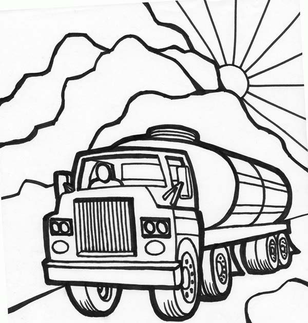 Trucks, : tanker-truck-starts-working-in-the-morning-coloring-page.jpg