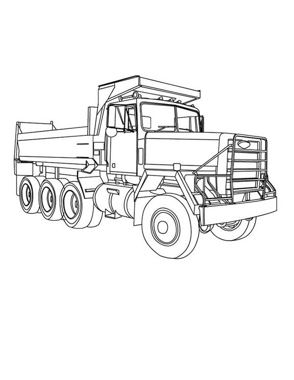 Trucks, : three-axle-dump-truck-coloring-page-for-kids.jpg
