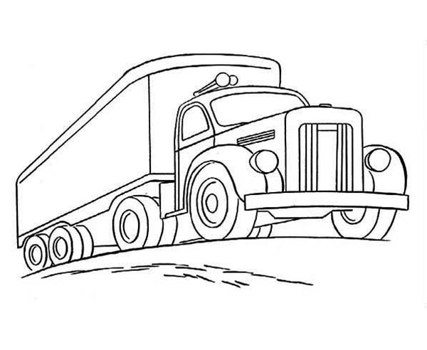 Trucks, : trailer-truck-climbing-road-coloring-page.jpg
