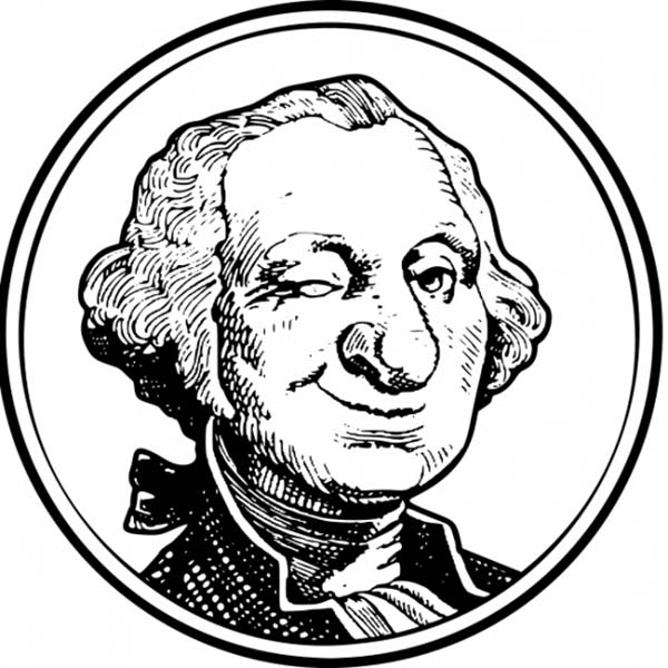 George Washington, : A Caricature of George Washington Coloring Page