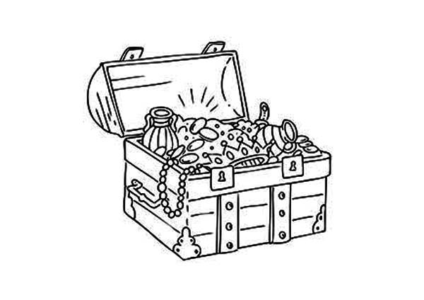 Treasure Chest, : A Classic Medieval Treasure Chest Coloring Page