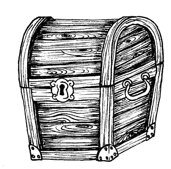 Treasure Chest, : A Classic Wooden Treasure Chest Coloring Page